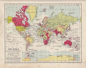 1931 Map The World Political Communications Steamer Routes Railways