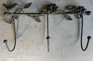 Hand Wrought Iron French Country Coat Rack Pot Holder Figural Hanger Apron Hooks