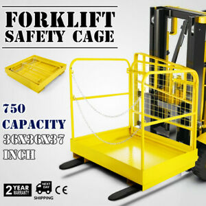 36 36 Forklift Work Platform Safety Cage Indoor Stability 750lbs Capacity