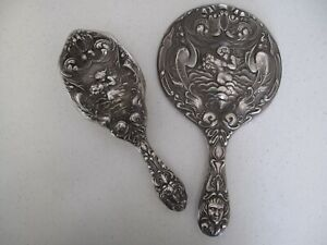Unger Brothers Love S Dream Sterling Silver Brush Marked Coordinating Mirror