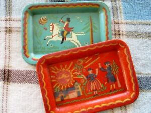 2 Small Antique Hand Painted Aqua Red Equestrian Colonial Folk Art Tole Trays