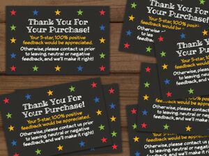 Thank You For Your Purchase 5 Star Shipping Labels Stickers Black 25 1000 2x3