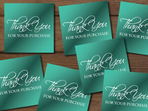 Thank You For Your Purchase Ebay Shipping Labels Stickers Teal Blue Customizable