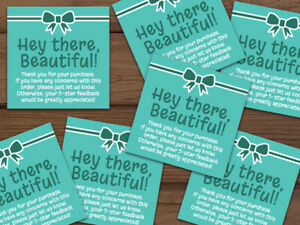 Thank You 5 star Feedback Shipping Labels Stickers Teal aqua White 25 1000 2x2