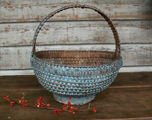 Primitive Antique Folk Art Basket 1800s Old Style Blue Paint Folded Square Nc