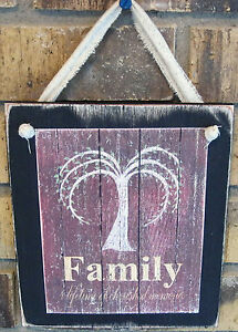 Family Willow Tree Hanging Wall Sign Plaque Primitive Rustic Lodge Cabin Decor