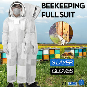 3 Layers Beekeeping Full Suit Astronaut Veil W Gloves Cargo Pocket White Apiary
