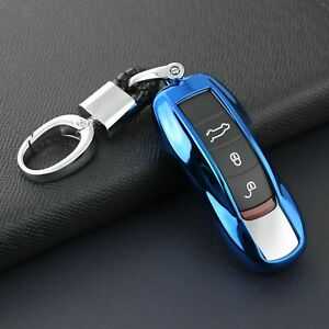 For Porsche Car Key Fob Chain Case Cover Holder Ring Keychain Accessories Blue