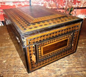 Antique Primitive Rustic Wood Wooden Inlaid Document Jewelry Box W Mirror As Is