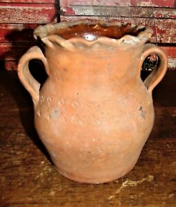 Antique Ovoid Redware Strap Handle Incised Vase Crock Henry Schofield Maryland