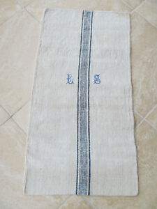 Superb Antique Dark Blue Stripe European Hemp Linen Feed Sack Grain Bag Large