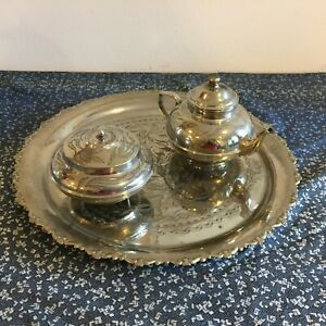 Vintage Silver Plated Coffee Tea Set With Pot And Sugar Bowl