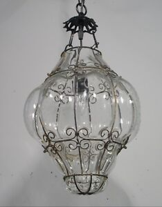 Antique Vintage Chandelier Pendant Light Fixture 1950 S Captive Glass