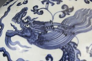 Estate Chinese Blue And White Dragon Large Porcelain Vase