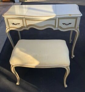 Vintage Drexel Collection French Provincial Vanity Dressing Table W Bench Rare