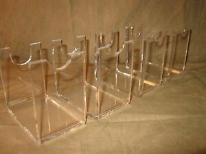 Four Acrylic Clear Antique Western Revolver Pistol Firearms Display Stands