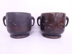 4093312 Japanese Tea Ceremony Copper Eared Brazier Set Of 2 Inlay Flower