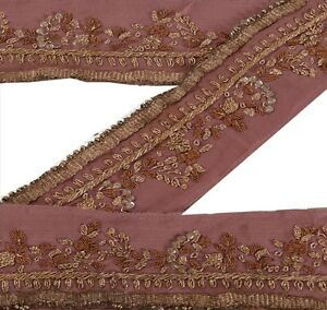 Vintage Sari Border Antique Hand Beaded 1 Yd Indian Trim Sewing Pink Decor Lace