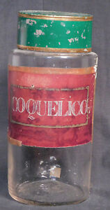 Antique French Tole Paint Tin Blown Glass Apothecary Jar Coquelico Poppy Bottle