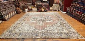 Primitive Antique 1900 1939 S Muted Natural Dye Wool Pile Oushak Rug 7x10ft