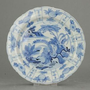 Antique Chinese Porcelain 16 17th C Wanli Kraak Porcelain Plate Bird Zh