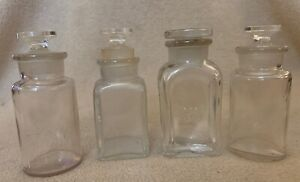 Lot Of 4 Vintage Glass Bottles Apothecary Bottles With Ground Stoppers
