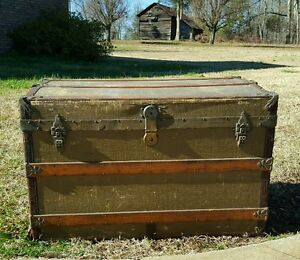 Old Vintage Antique Steamer Trunk Chest M Cherry W Wheels Local Delivery
