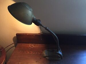 Antique Industrial Adjustable Conduit Shop Student Table Desk Goose Neck Lamp