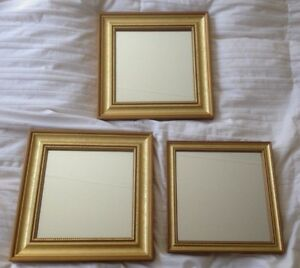Vintage Gold Wood Wall Mirrors Set Of 3