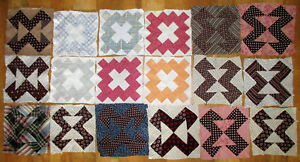 Lot Of 18 Vintage Hand Stitched Quilt Blocks 7 5 And 8 Squares