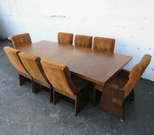 Brutalist Mid Century Dining Set Table With 2 Leaves And 8 Chairs By Lane 9512