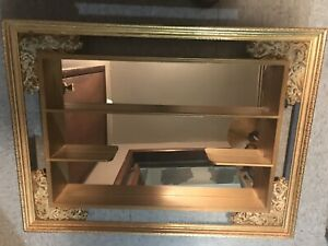 Vintage Mid Century Modern Mirrored Shelves Shadow Box By Illinois Moulding Co