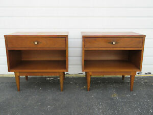 Mid Century Modern Inlay Pair Of Nightstands Side End Tables By Basic Witz 9603