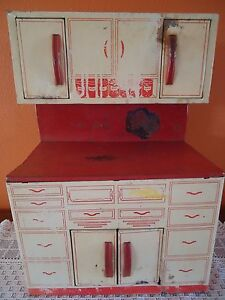 Vintage Wolverine Child S Doll Toy Kitchen Cupboard Cabinet Antique Tin