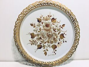 Vtg Nashco Toleware Hand Painted 15 White Gold Floral Metal Serving Tray Signed