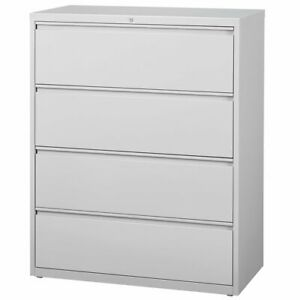 Hirsh Hl8000 Series 42 4 Drawer Lateral File Cabinet In Light Gray