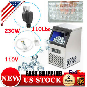 110v Auto Clear Cube Ice Making Machine Commercial Ice Maker 50kg 230w 110lbs