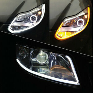 2x 30cm Switchback Car Drl Led Light Strip Sequential Turn Signal White Amber