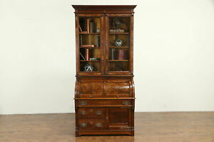 Victorian Antique Walnut Cylinder Roll Top Secretary Desk Bookcase 30722