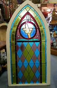 Oldantique Stained Glass Jeweled Church Window Architectural Salvage Gothic Arch