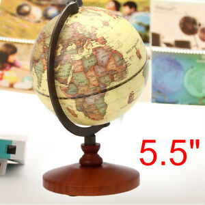 5 5 Vintage Desk Table Rotating Earth World Map Globe Geography Home Decor