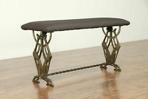 Art Deco 1930 Vintage Iron Bench Greyhound Dogs New Upholstery 30729