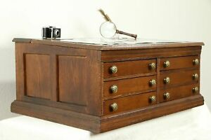 Victorian Antique Oak Spool Cabinet Jewelry Or Collector Chest 30748
