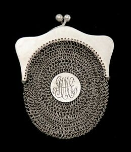 Antique C1900 German Sterling Silver Mesh Chainmail Change Purse
