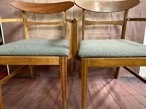 2 Mid Century Vintage Chairs Danish Wood Dining Arm Desk Accent Gray Retro Pair
