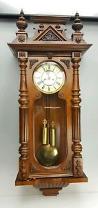 Fab Old Very Large Impressive Double Weighted Vienna Wall Clock