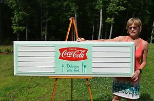 VINTAGE SCARCE 50's COCA COLA TEAL GRN METAL MENU BOARD SIGN MUSEUM. PC IN BOX!