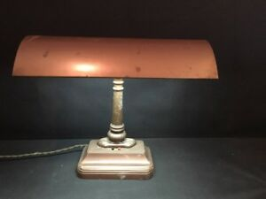 Antique Art Deco Steampunk Machine Age Metal Banker S Piano Desk Lamp