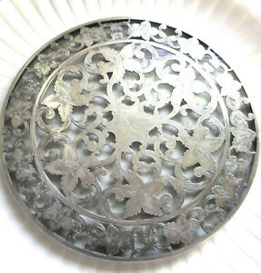 Lovely Signed Webster Glass Sterling Silver Overlay Trivet