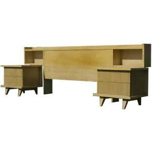 Mid Century Modern Vintage Headboard W 2 Night Stands Totally Tiki